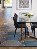 Hex handtufted 100% pure wool rug dining room image