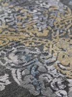 Salzburg grey blue and gold handknot rug detail image