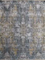Salzburg grey blue and gold handknot rug overhead