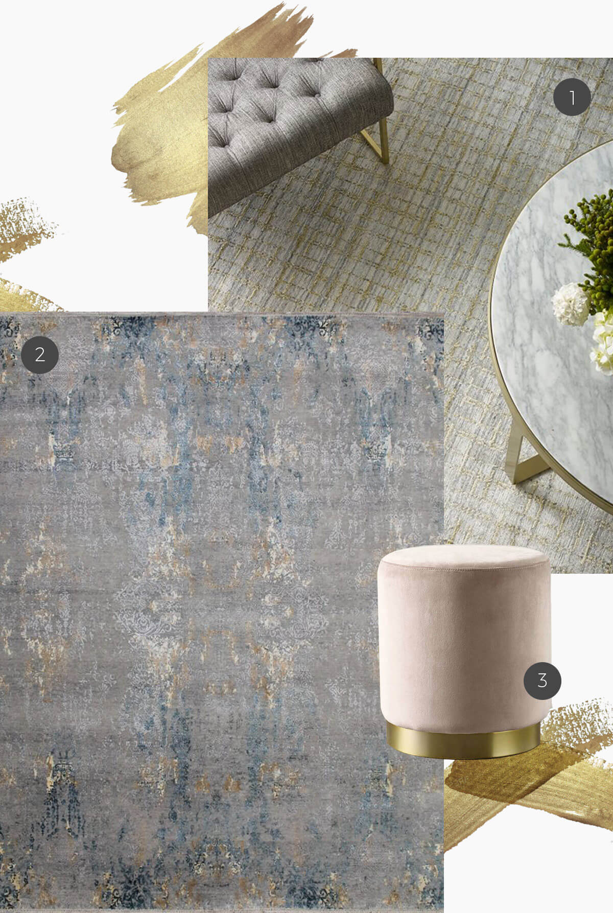 gold accents on rugs and furniture
