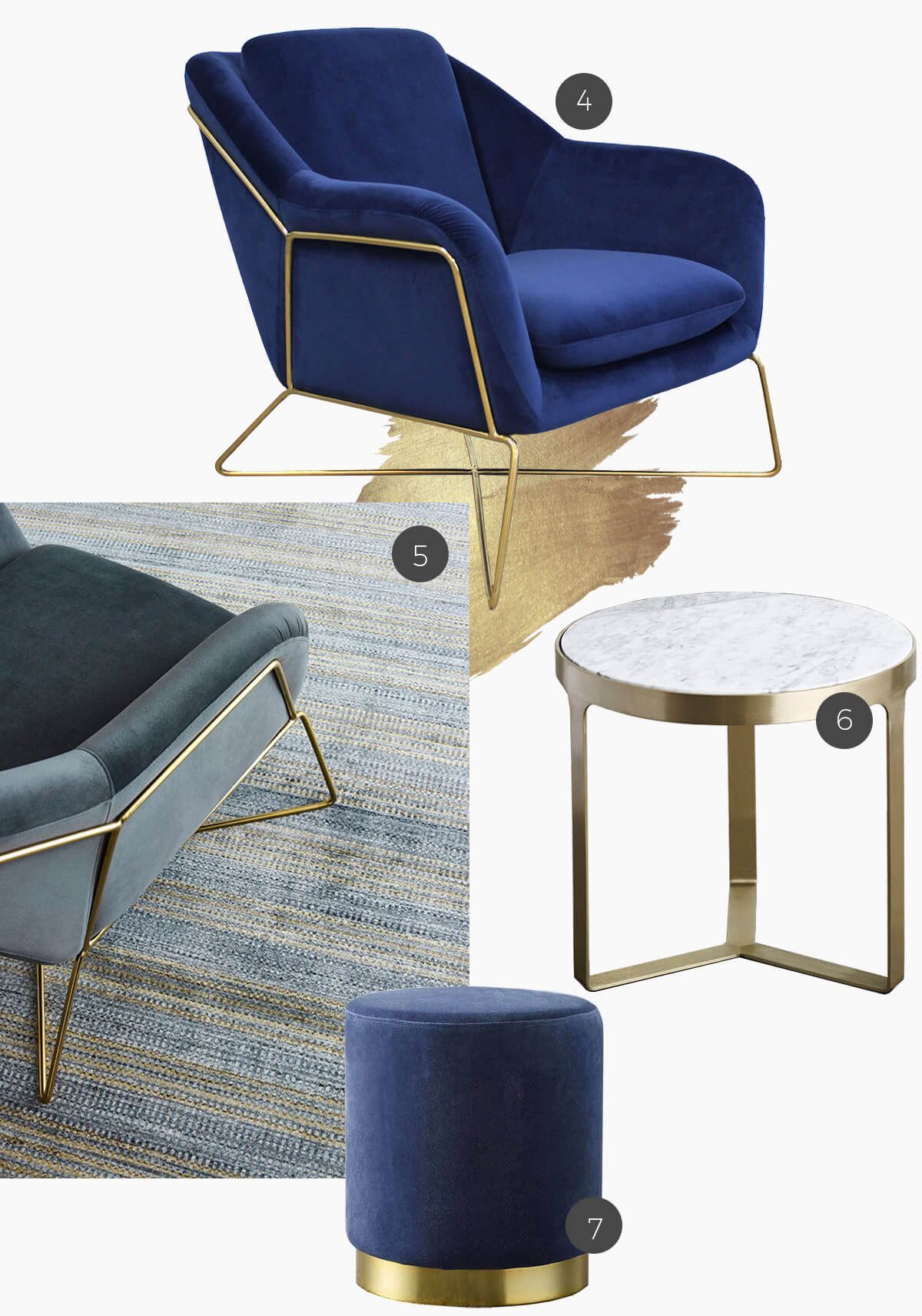 gold accents on rugs and furniture with Navy Velvet Charlotte occasional chair