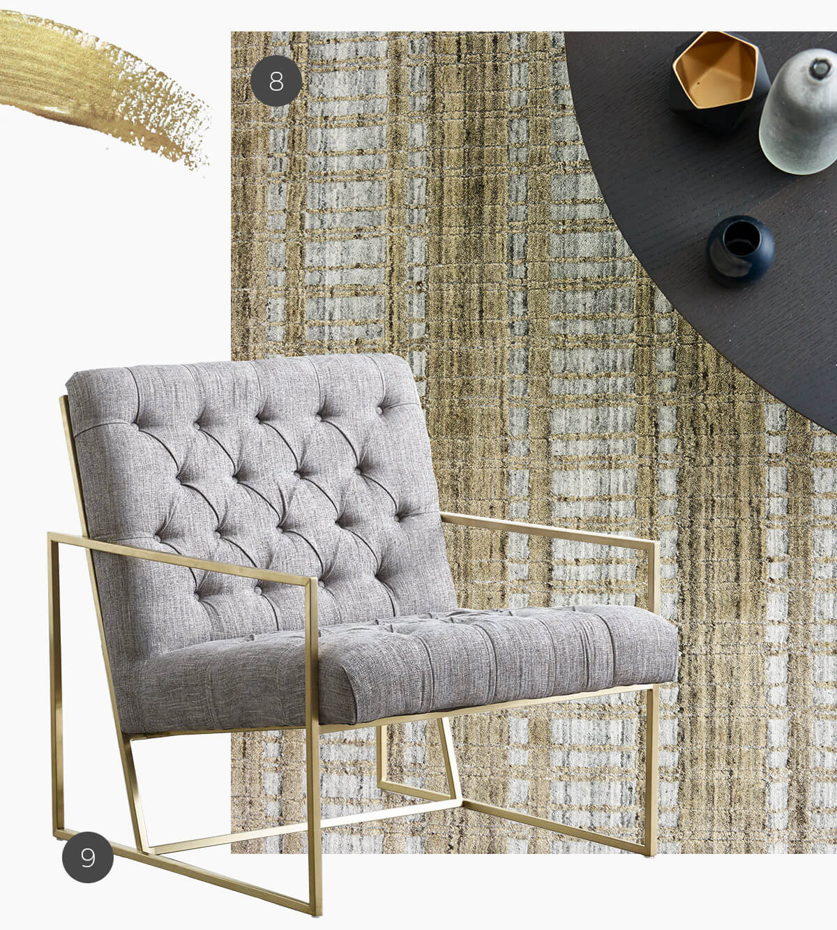 gold accents on rugs and furniture with santa monica rug and bentley chair