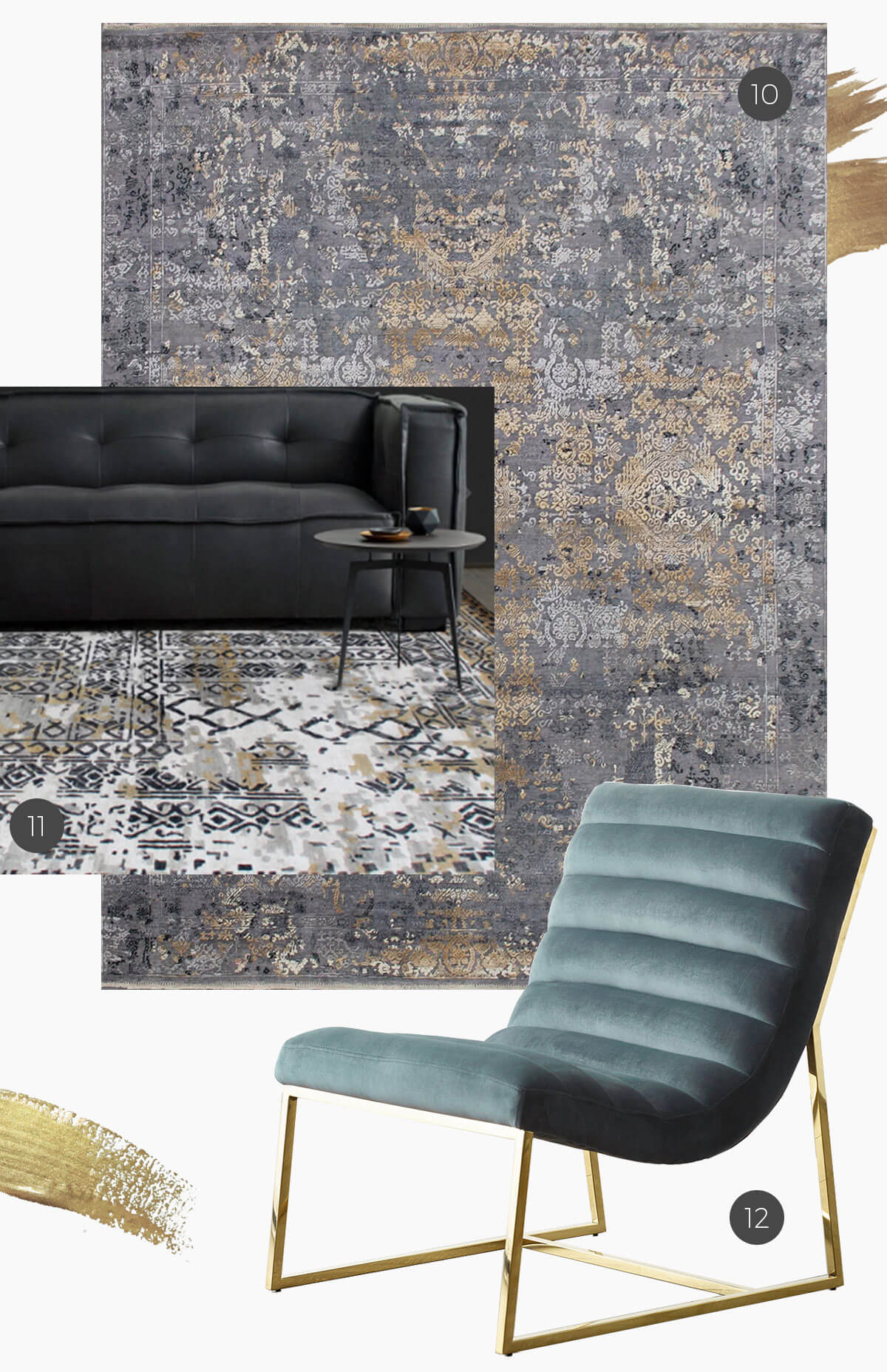 gold accents on rugs and furniture with port velvet chair and winston leather sofa
