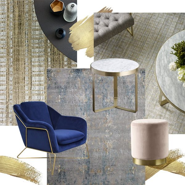 gold accent furniture and rugs for interior design