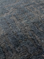 luxury glasgow handknot rug in ink blue made from new zealand wool detail image