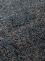 luxury glasgow handknot rug in ink blue made from new zealand wool close up