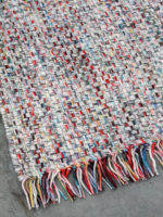 Bijou handwoven multi colour rug with fringe corner image