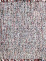 Bijou handwoven multi colour rug with fringe corner overhead image