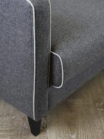 Camille Sofa dark grey felt fabric lounge with contrast piping detail image