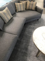 Camille 3 seater sofa in dark grey felted fabric with contrast piping close up