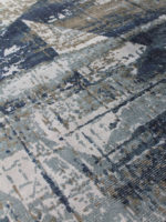 April handloom knotted wool and artsilk rug in silver and blue
