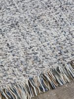 Bijou Mist handwove wool rug with fringe