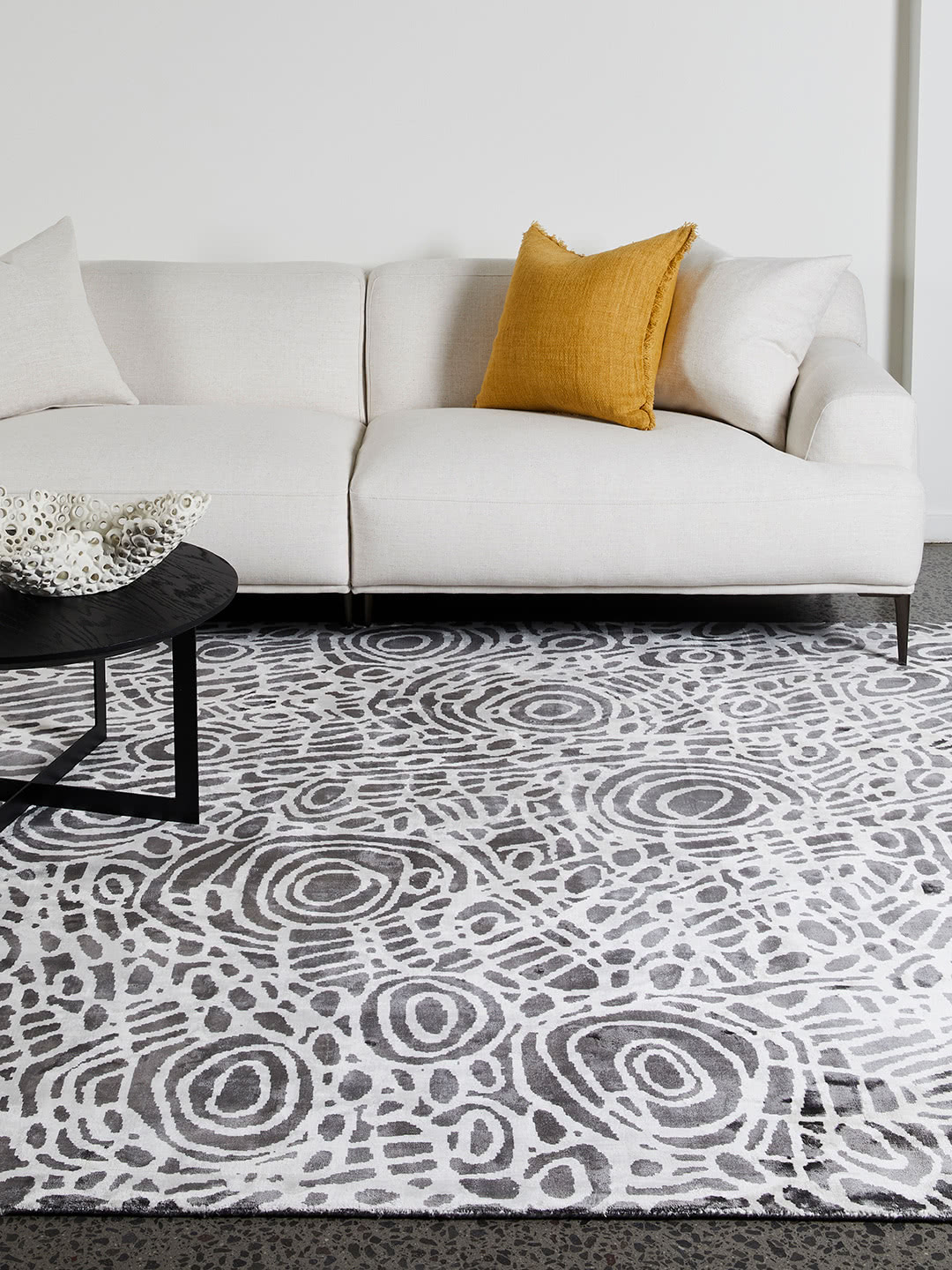 Kwerralya by Charmaine Pwerle - Indigenours rug design with black and white pattern - lifestyle image